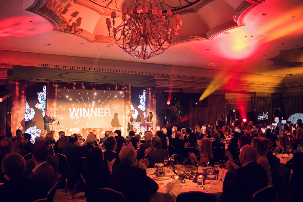 Interior design events for October with SBID Awards ceremony room and stage