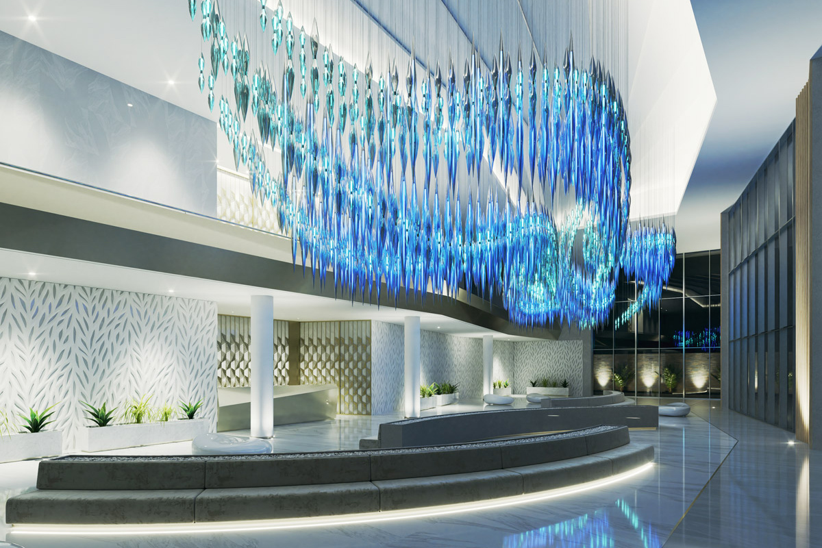 SBID Awards Sponsor Sans Souci featuring lighting design in hotel reception interior image