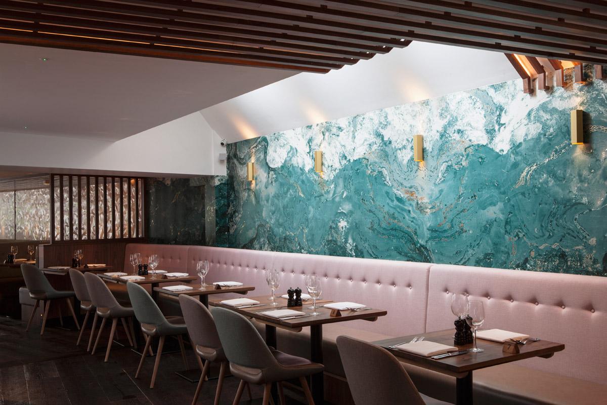 Muraspec wallcovering design in restaurant project for SBID interior design blog