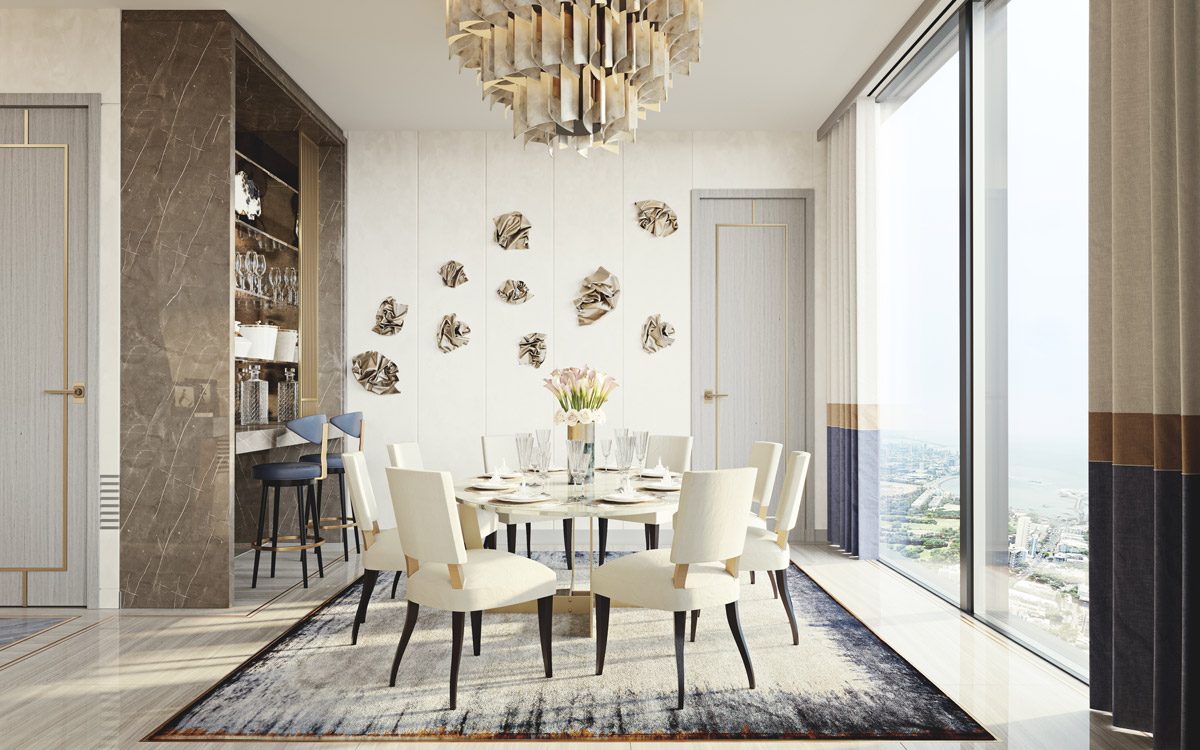 Residential dining room design by Elicyon for Mumbai Development