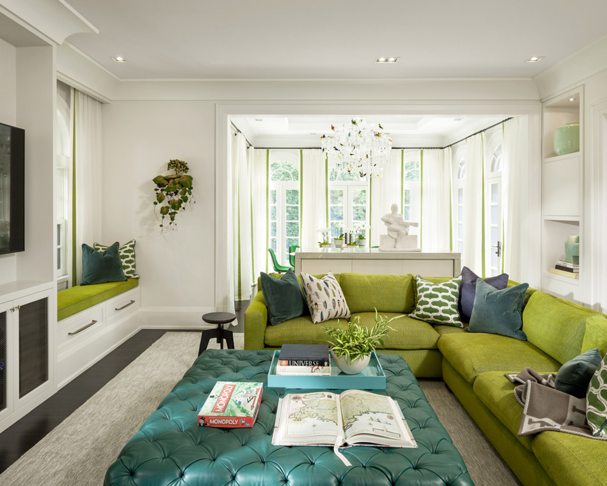 Residential design by Powell & Bonnell with living room interior for the Well Hued House