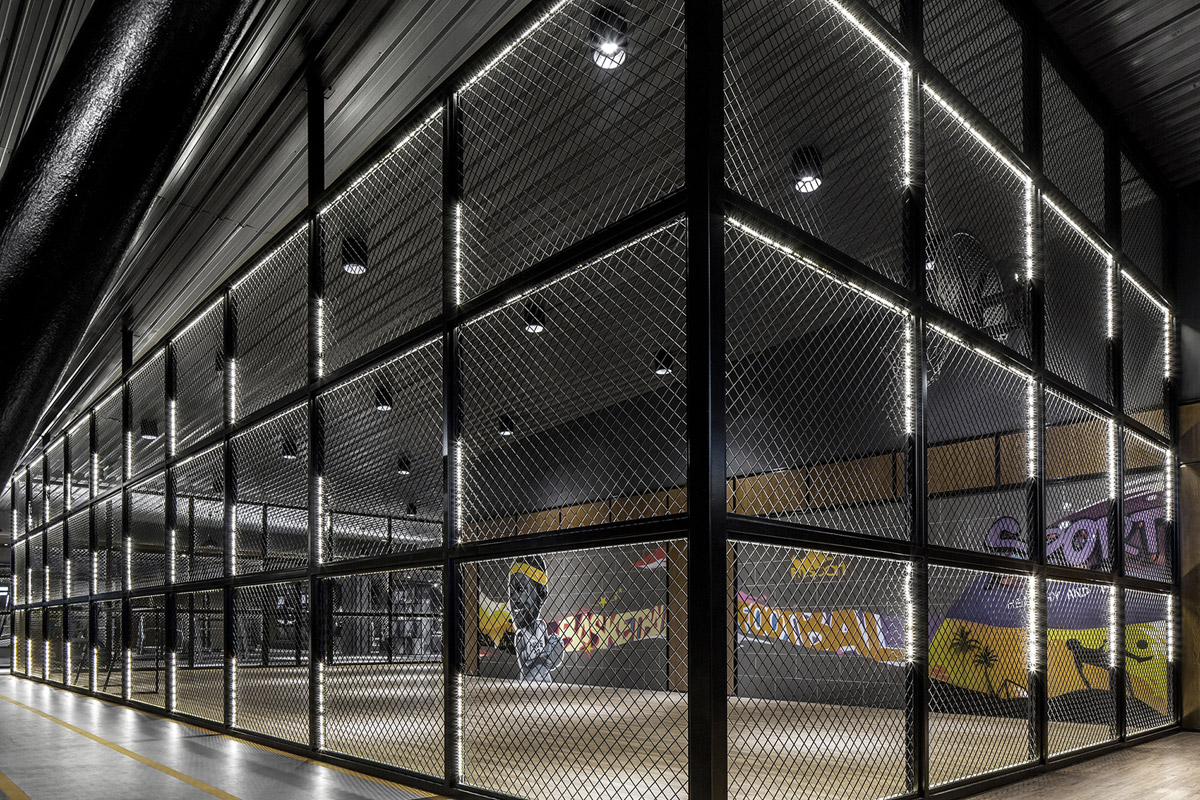healthcare and wellness design, Innovative Fitness Centre with Industrial Aesthetic