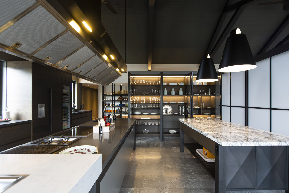 KBB design kitchen interior by Masterwood Joinery with oriental and commercial influences
