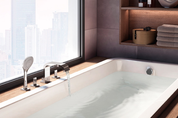 Product news featuring Roca brassware range, Flat for bathroom spaces