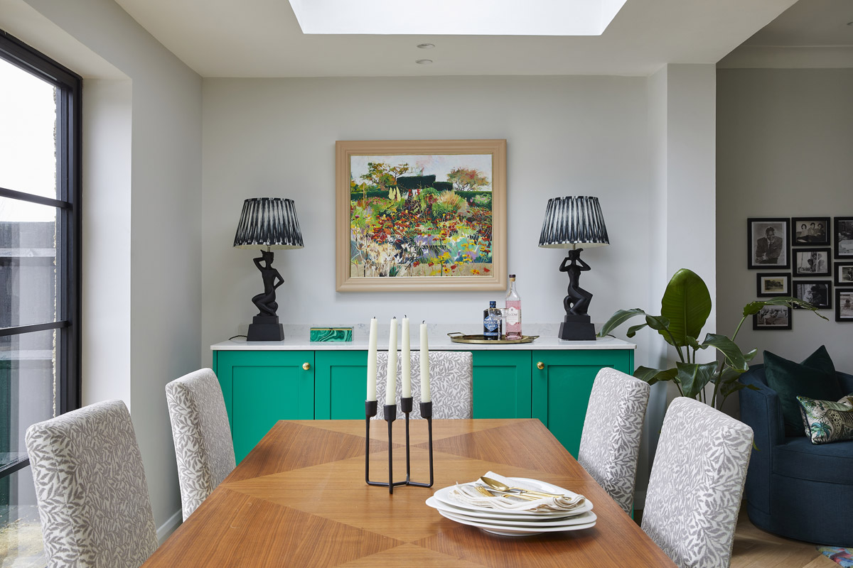 bold open space design, Tired Kitchen, Dining and Living Areas are United in a Bold Open Plan Space